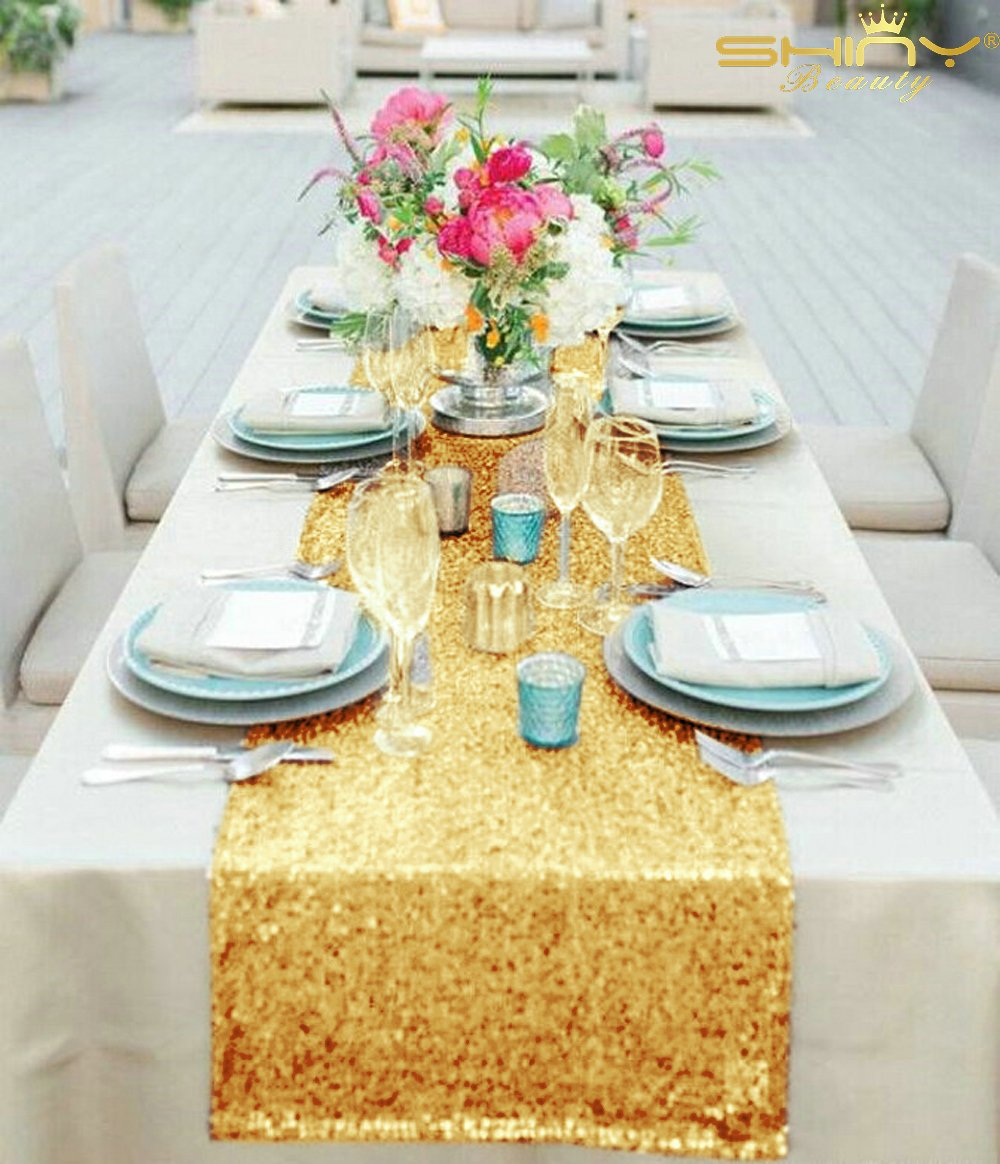 shinybeauty inch rectangle gold sequin table accent your focus runner for wedding party decor home kitchen green marble top coffee target patio metal basket furniture legs outdoor