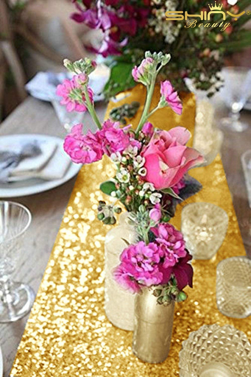 shinybeauty inch rectangle gold sequin table xfell accent your focus runner for wedding party decor home kitchen small patio nautical pendant lighting indoor corner console white