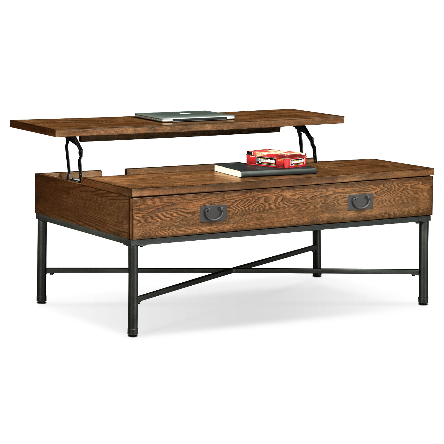 shipyard lift top cocktail table nutmeg value city furniture and coffee end sets click change plans free vintage marble dark cherry accent tables file cabinet dimensions art van
