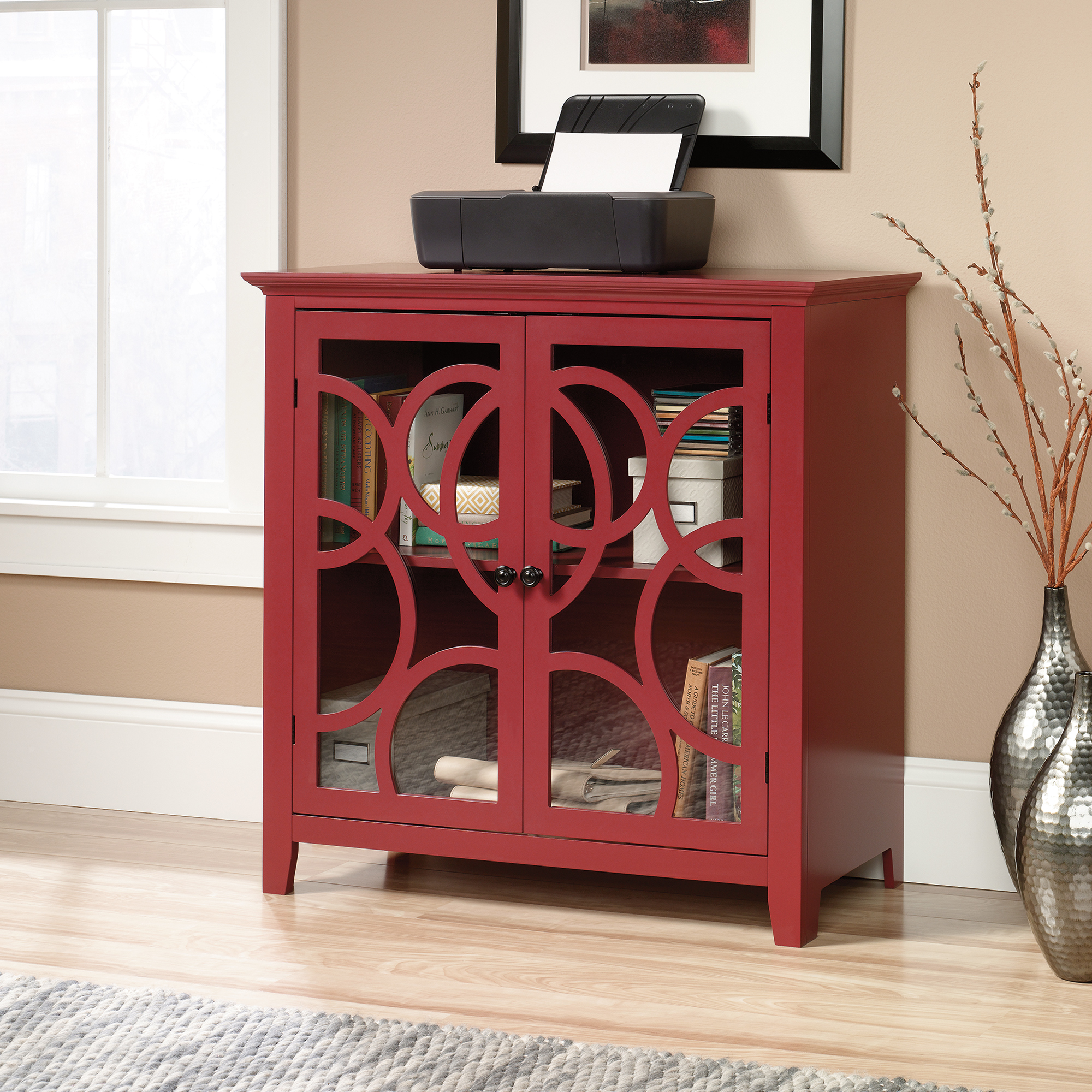 shoal creek elise storage cabinet with glass doors sauder accent table decorative and display pottery barn frog drum end mirror moroccan mosaic garden xmas tablecloths runners