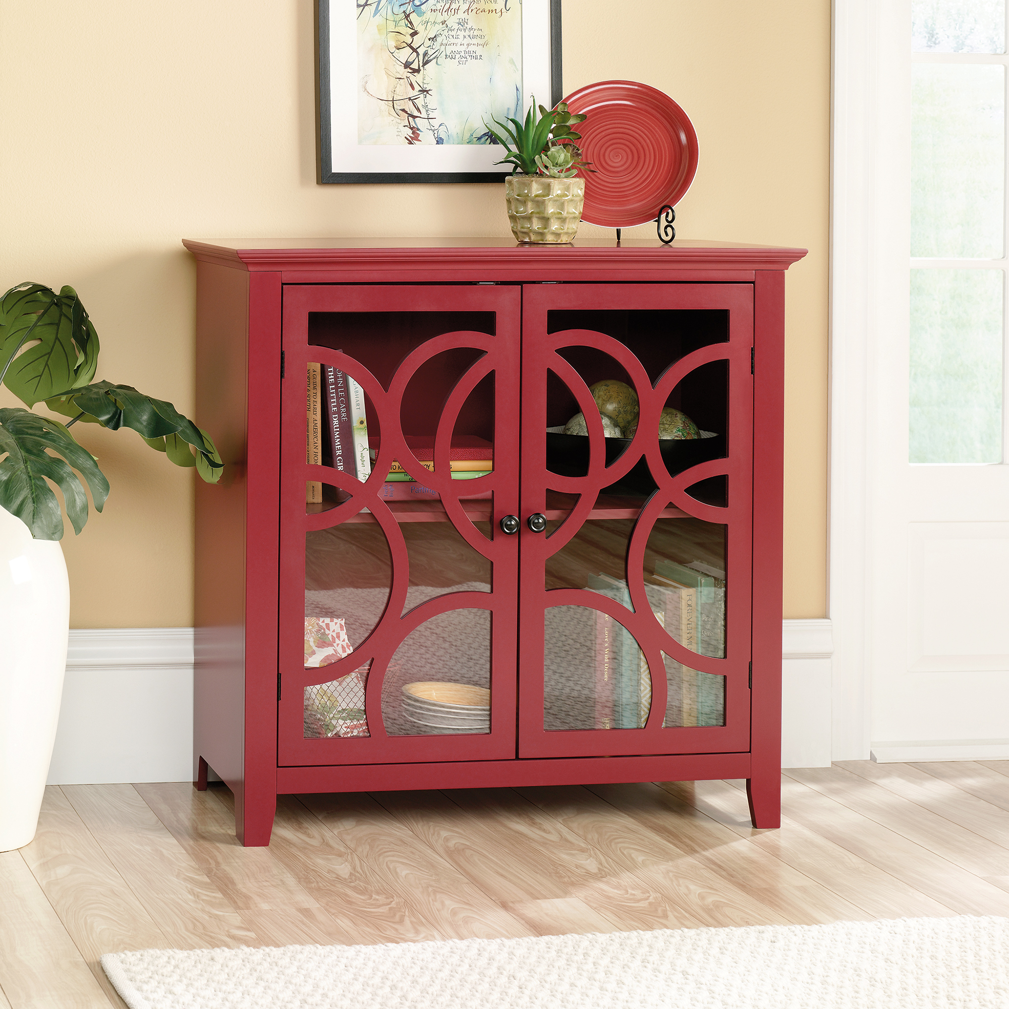 shoal creek elise storage cabinet with glass doors sauder accent table decorative and display westminster furniture turquoise placemats napkins acrylic trunk coffee patio toronto