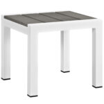 shore outdoor patio aluminum side table eei whi gry folding target maple furniture iron frame queen white high gloss bunnings garden seat ikea storage drawers narrow small half 150x150