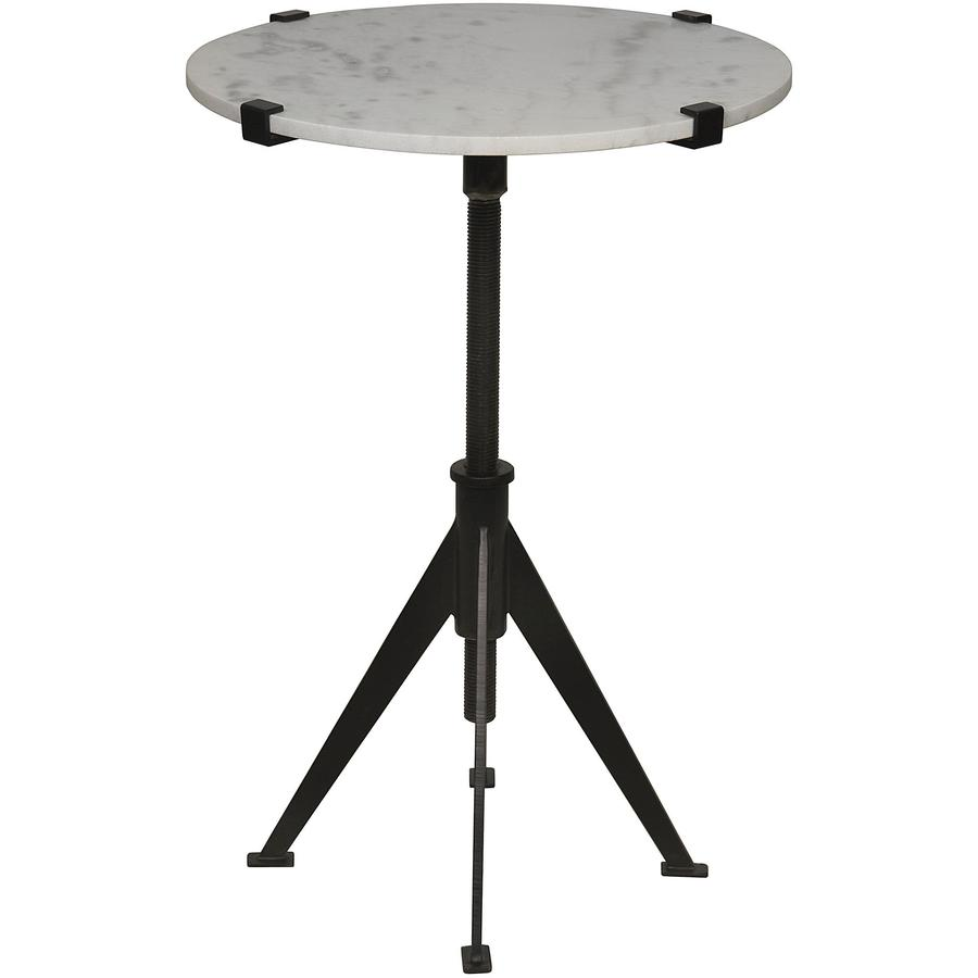 side end accent tables bliss home design boir edith adjustable table small black drum with round white quartz top light colored veining and attached four inch patio cover cooler