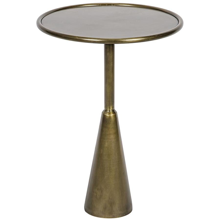 side end accent tables bliss home design boir hiro table antique brass round with conical base simple rod stand low rimmed top rustic small white console ashley furniture dining