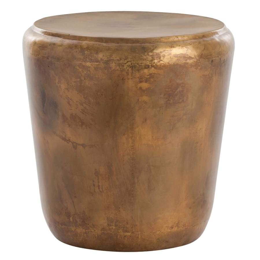 side end accent tables bliss home design brte santiago iron table copper drum shaped with and gold color striations visible seams weld antique styles patio metal glass extra small