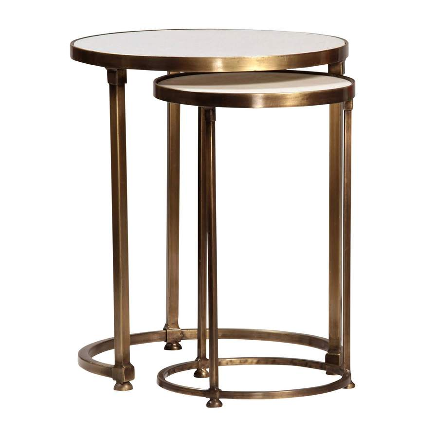 side end accent tables bliss home design ecdt clifford sidetable set round two nesting sidetables with gold rims and matching bases table cloth adjustable furniture legs small