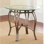 side end table glass top round contemporary metal durable living accent room furniture greysonliving contemporarymoderntransitionalurban square dining wine shelf white patio ideas 150x150