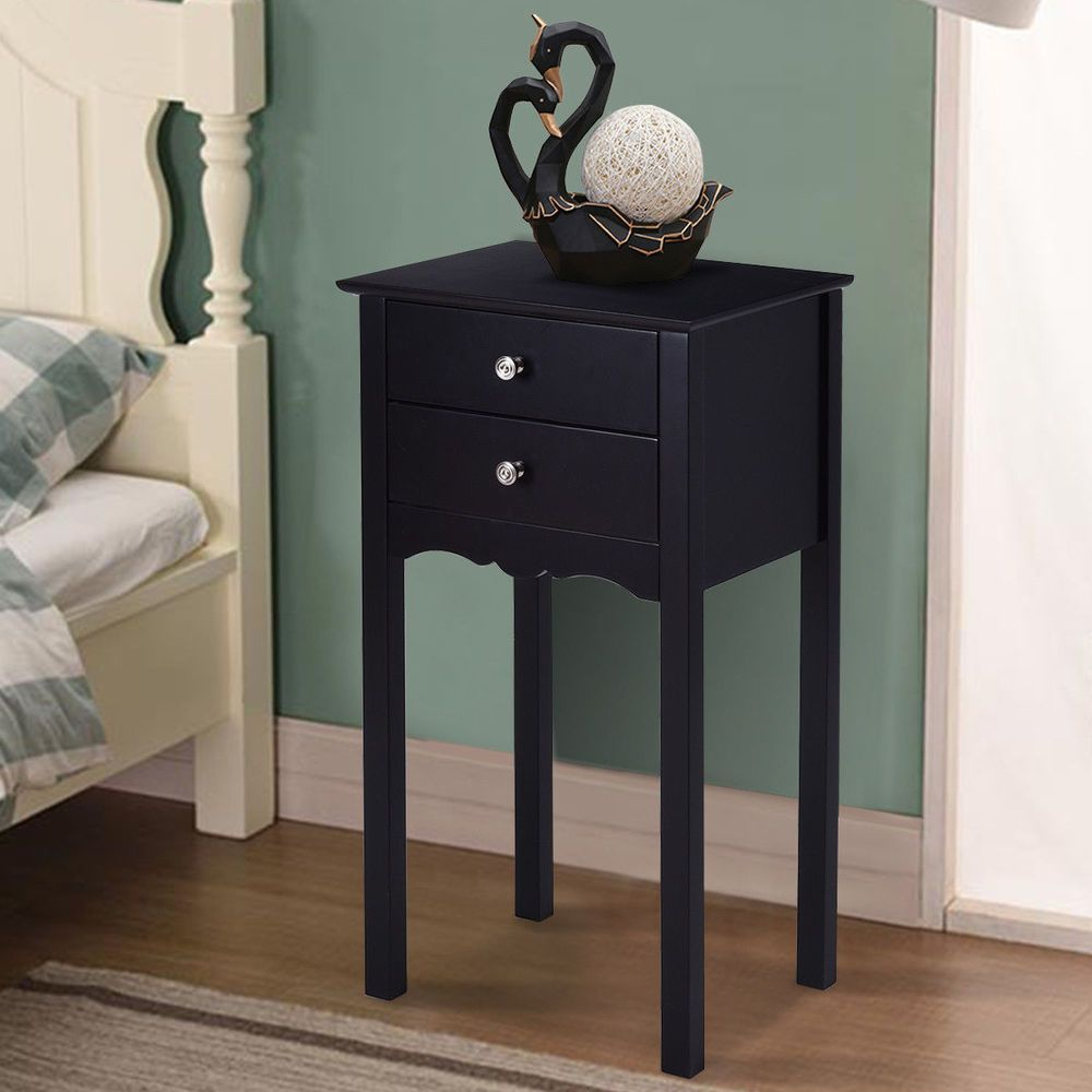 side table end accent night stand drawers furniture black with drawer date saturday pst now for keter cool bar drink storage and lamps usb round cooler dale tiffany crystal white