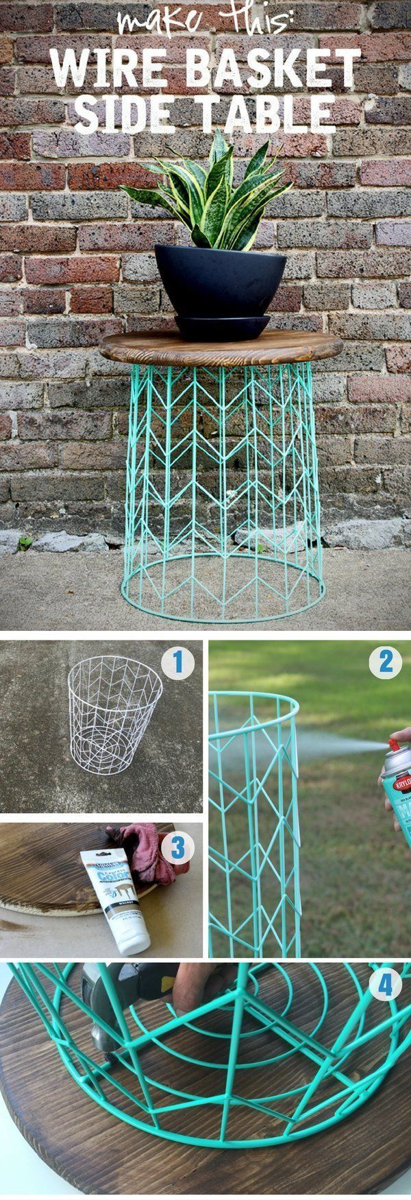 side table from wire basket minute diy idea getting accent make statement your home without breaking the bank this easy but adds fun design element with minimal skills bunk beds