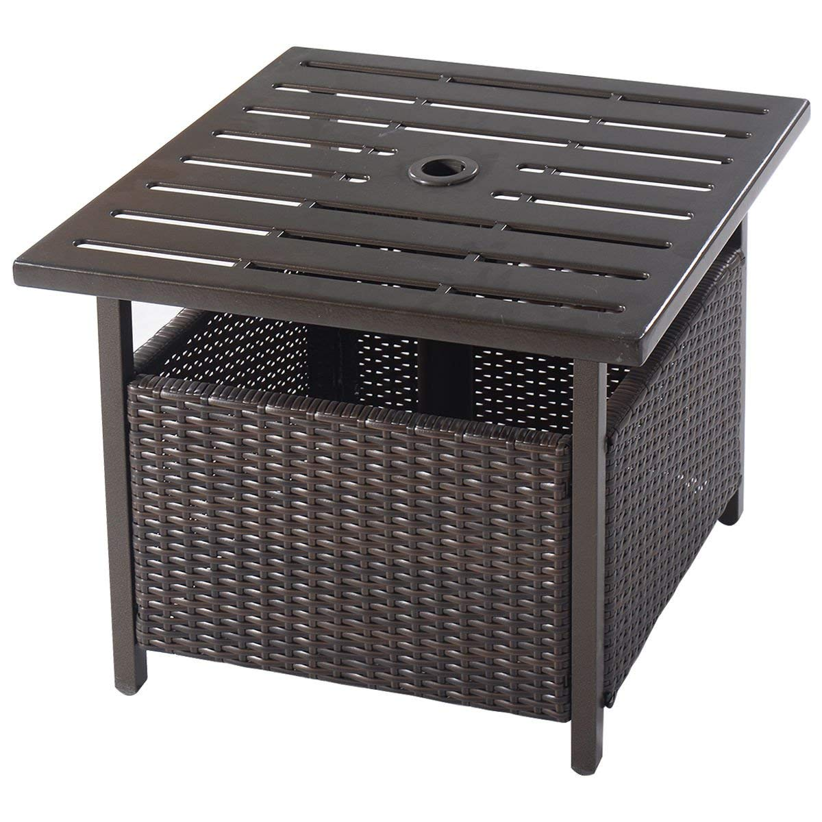 side table outdoor furniture deck garden patio pool with drawer rattan wicker steel brown small navy cast iron frame tall hall piece coffee sets under west elm bench black and