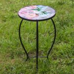 side table outdoor garden metal accent desk round hand painted glass console with shelves lobby furniture top patio coffee pottery barn square corner end storage bar height dining 150x150