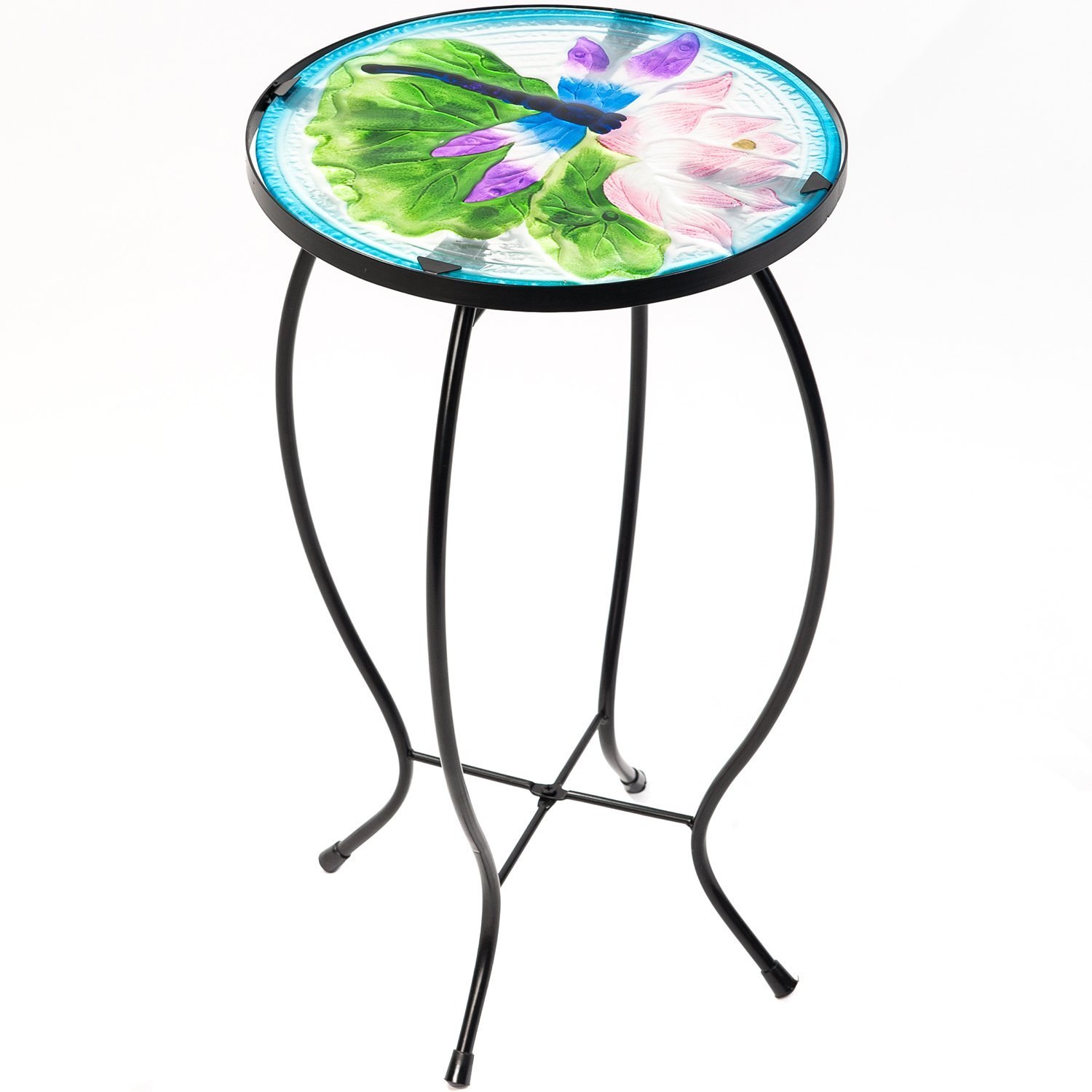 side table outdoor garden patio metal accent desk round hand painted glass blue home decor sheesham wood console bar height green tiffany lamp bronze end tables top coffee small