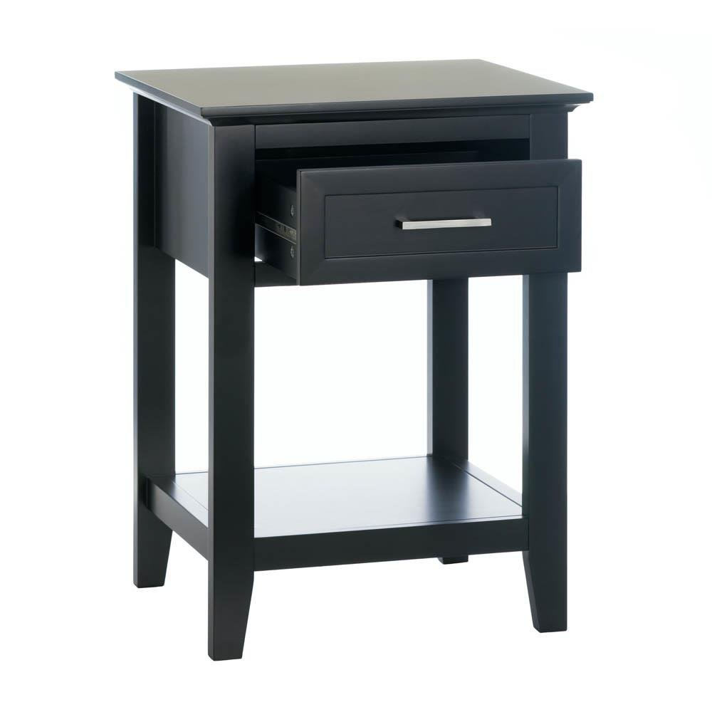 side table with drawers modern black wood bedroom outdoor accent tables storage furniture tan leather chair ashley console sofa high gloss coffee dark bunnings garden seat