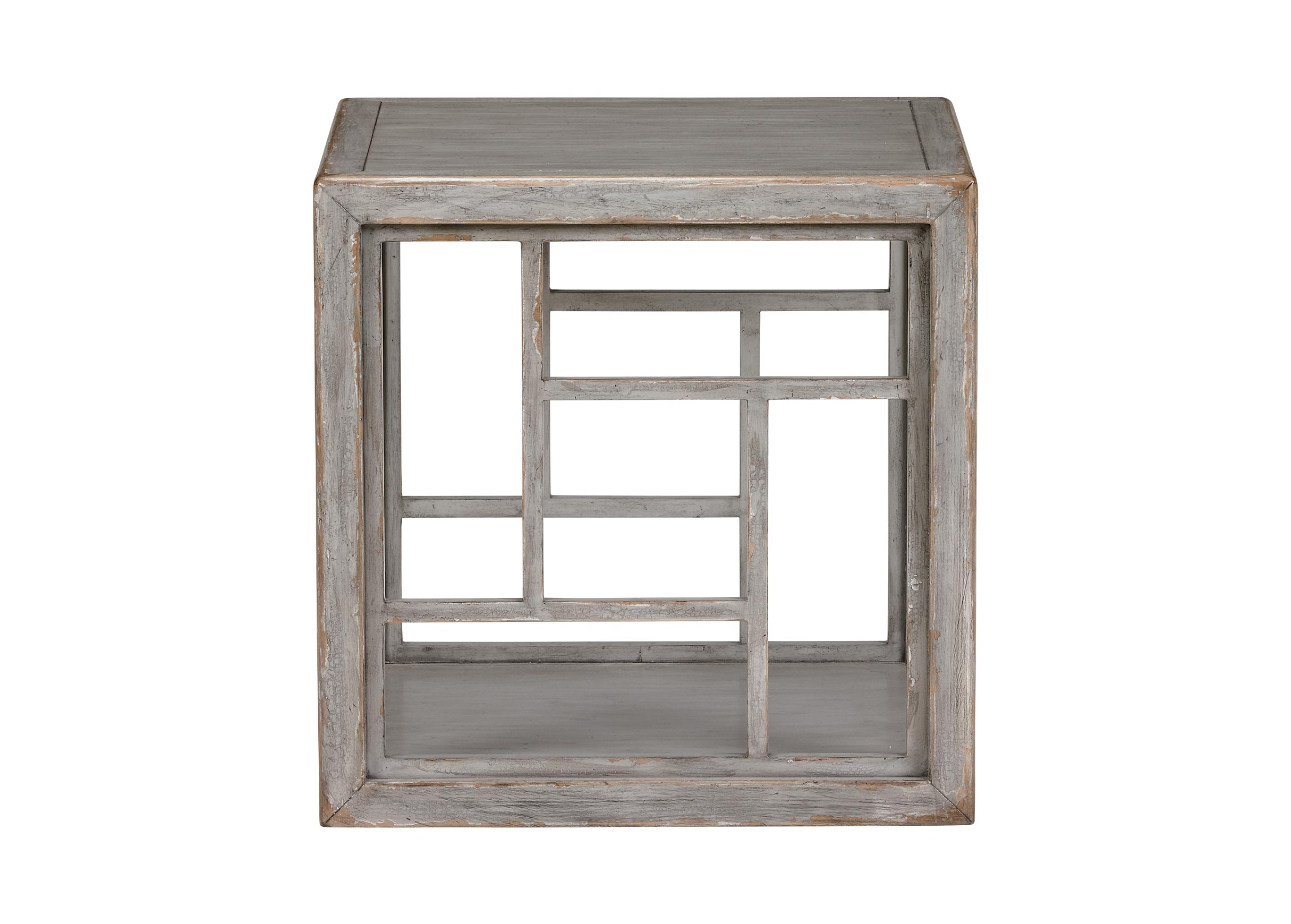 side tables accent ethan allen better homes and gardens table rustic gray quick ship dynasty fretwork furniture occasional glass mirror dresser little with drawers brass