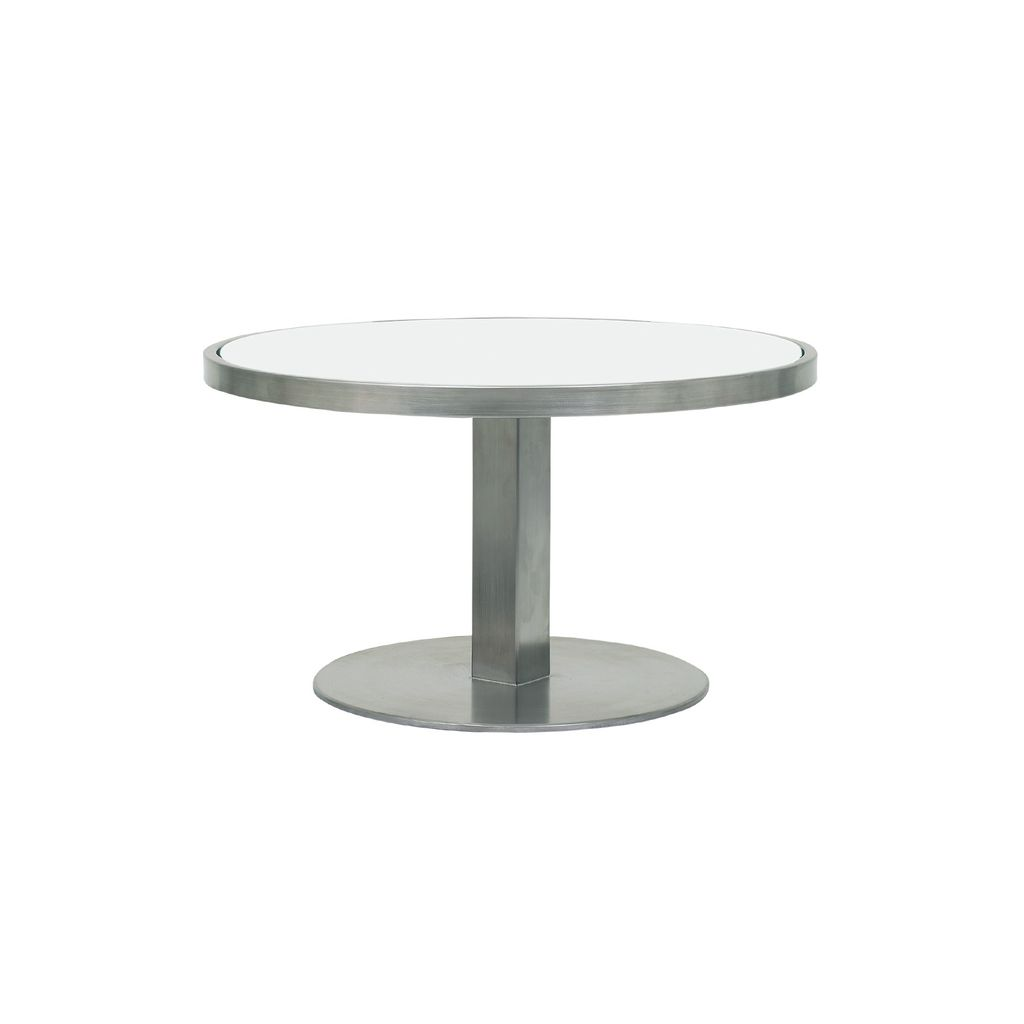 side tables kolo collection white patio accent table royal botania zon inch round electro polished stainless glass top cloth plastic tablecloths rattan outdoor furniture black and