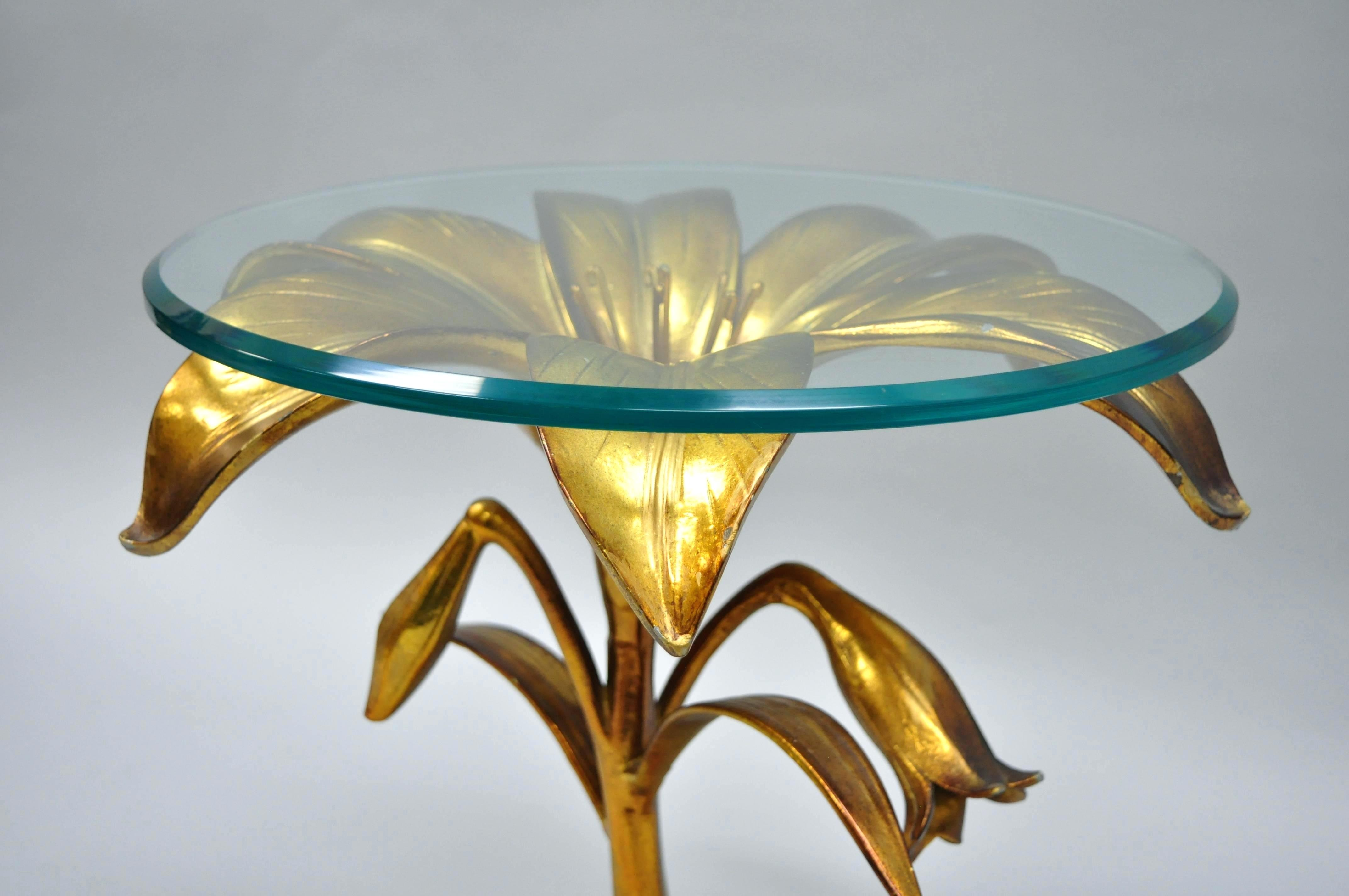 sidetables flower side table marble furniture accent pottery court gold lily leaf glass top regency good condition for barn threshold wood and coffee round decorative tablecloth
