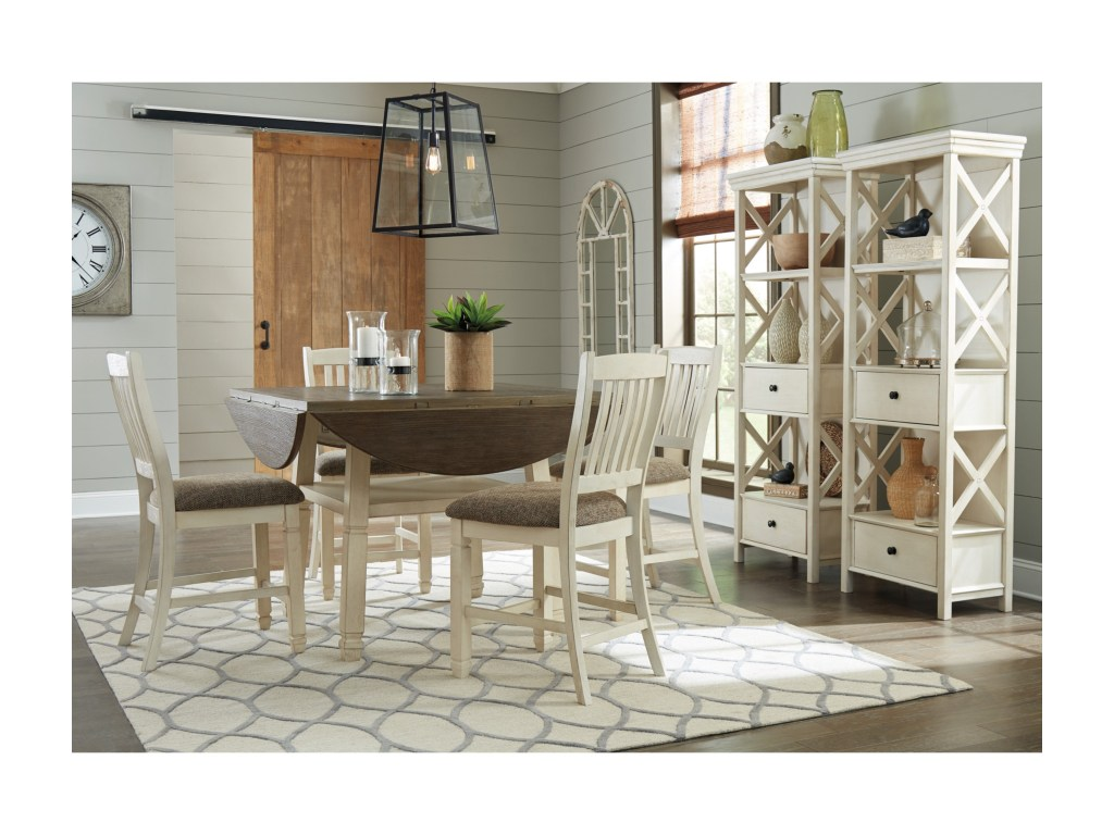 signature design ashley bolanburg relaxed vintage piece square products color avenue six chair and accent table set round drop leaf counter glass top patio dining reproduction