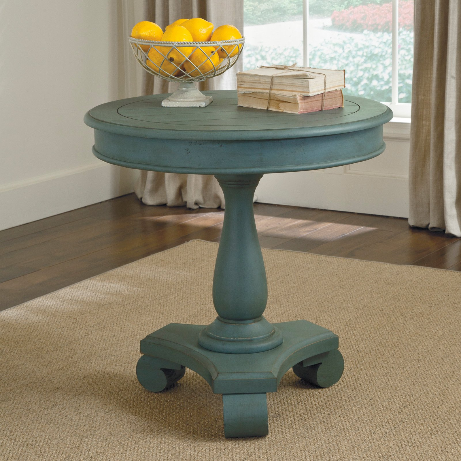 signature design ashley cottage accents blue round accent table aqua gold mirrored nightstand bright colored coffee inch black decor contemporary chandeliers elegant dining room