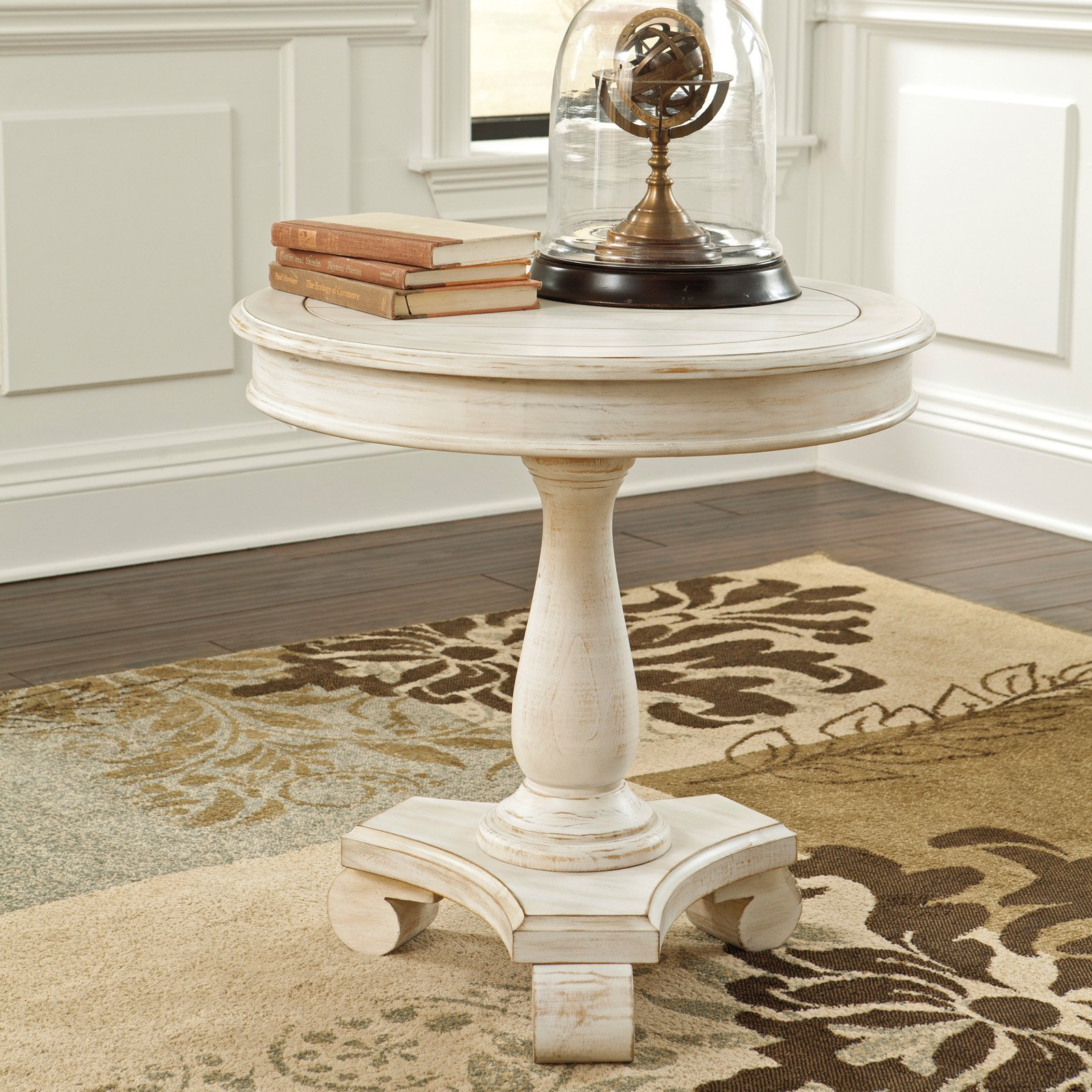 signature design ashley cottage accents white round accent table pedestal metal outdoor pottery barn entry bench brass coffee clock end marble glass oriental chestnut gray and