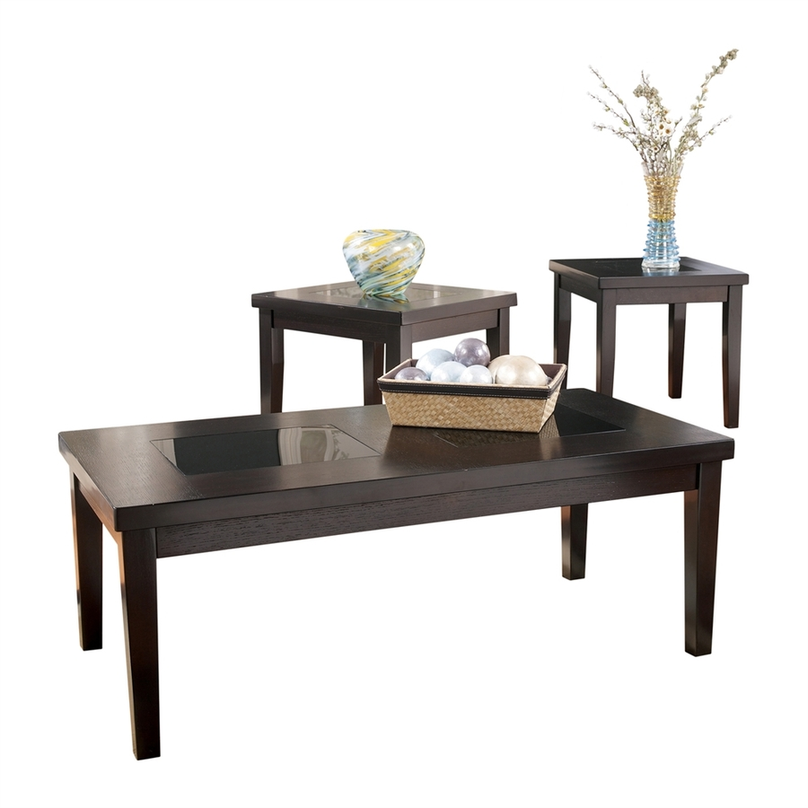 signature design ashley denja piece dark brown birch accent wood table set octagon side garden furniture tables rustic barnwood grey wall clock pallet small pine coffee patio