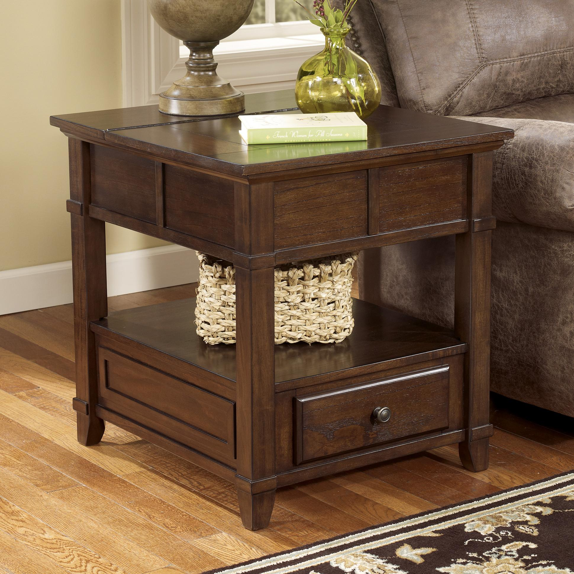 signature design ashley gately end table with hidden products color accent rectangular diy granite countertops classy lamps ikea living room chairs espresso finish pottery barn