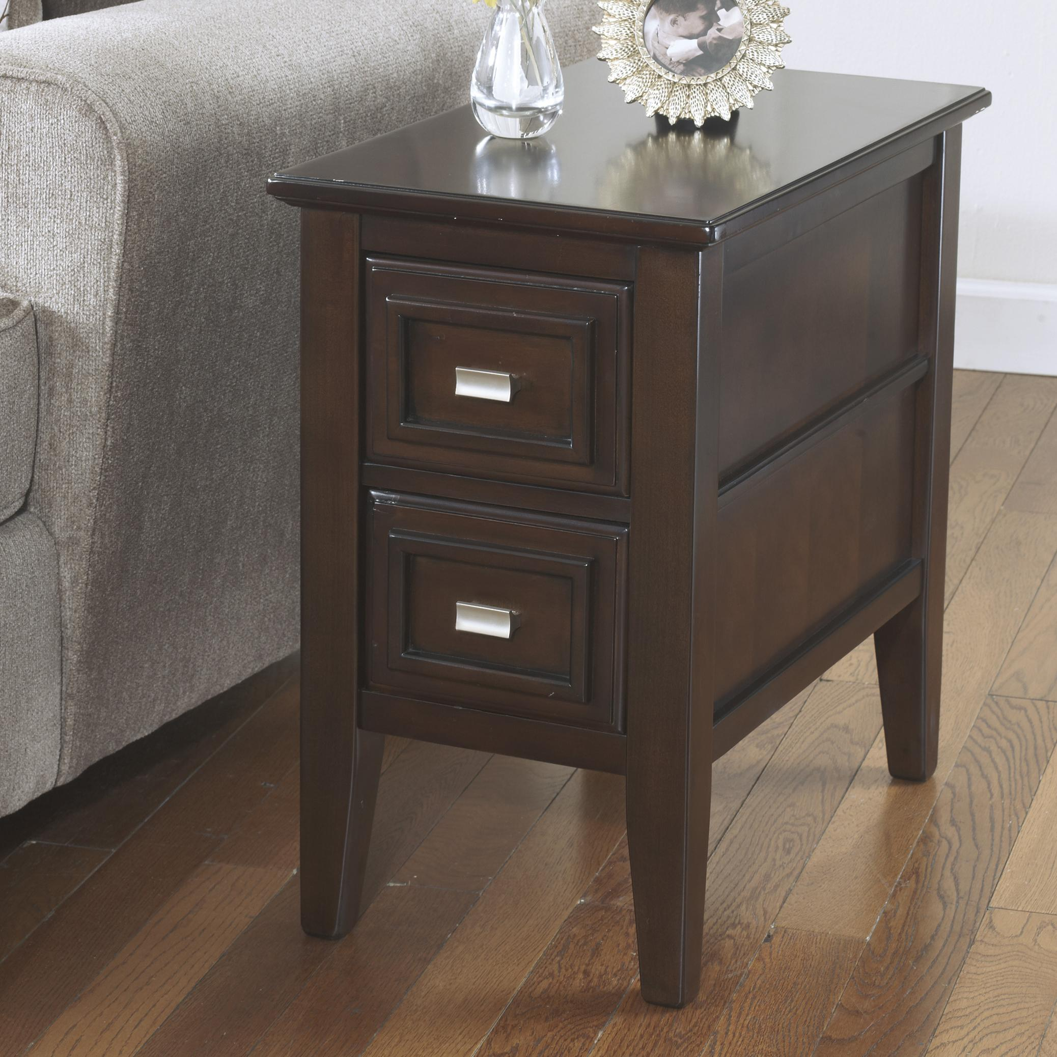 signature design ashley larimer chairside end table with drawers royal furniture accent tables chests and cabinets antique leather inlay dale lamp foyer console mirror set rustic