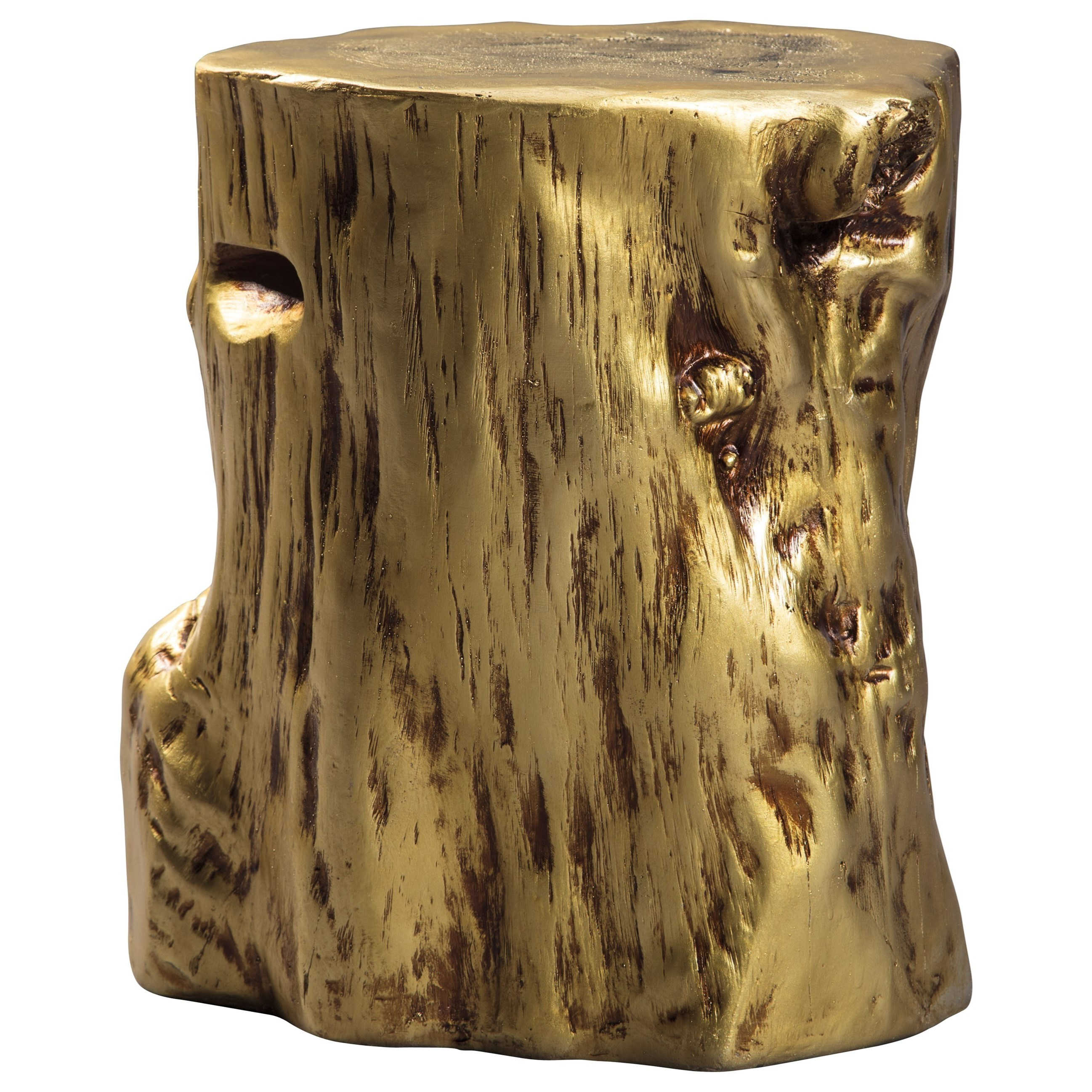 signature design ashley majaci gold tree stump accent table products color wood cherry nightstand touch lamps entry console metal small quilted placemats painted nightstands cream