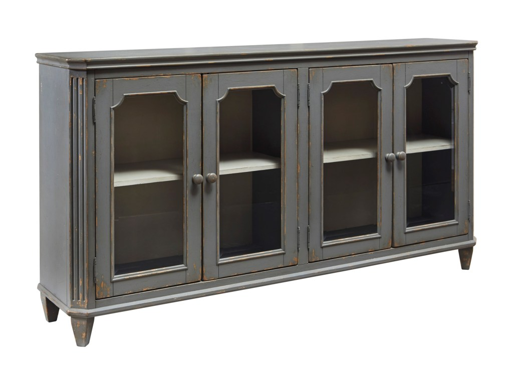 signature design ashley monterrey french provincial style glass products color cottage accents accent table with doors door cabinet antique gray finish acrylic trunk coffee half