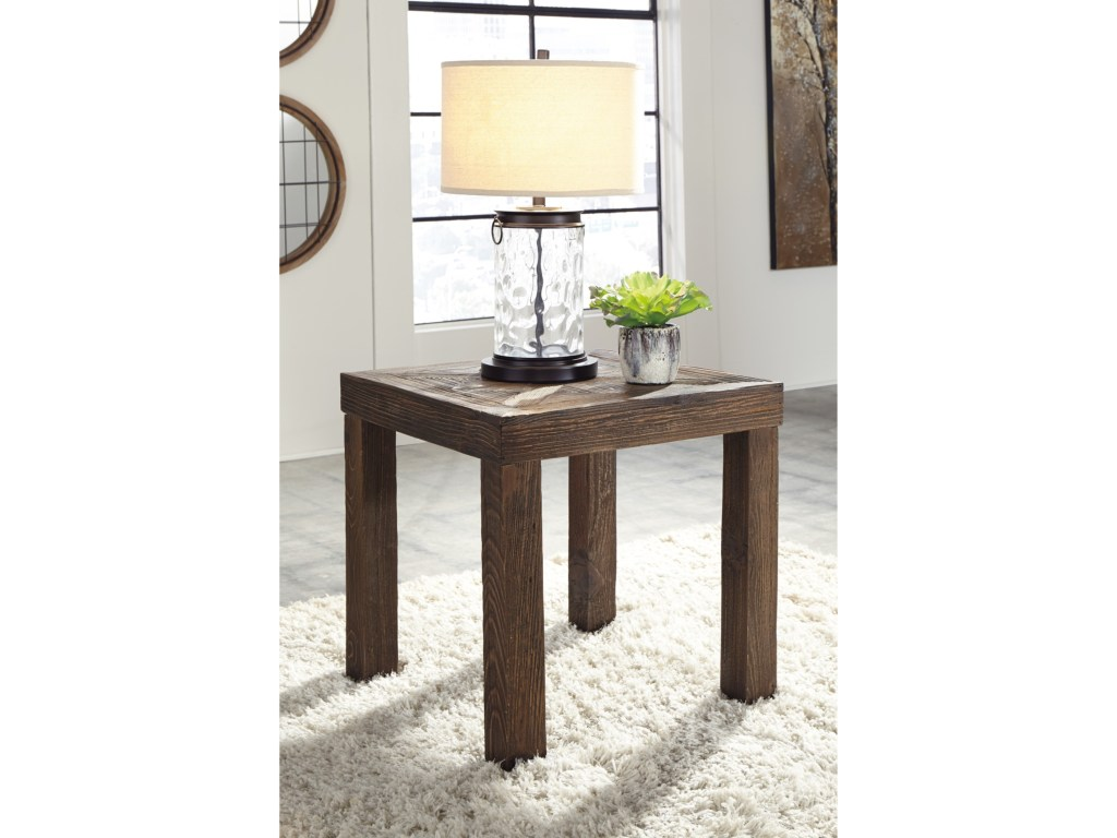 signature design ashley ossereene rustic square end table products color threshold parquet accent ossereenesquare pork pie drum throne small battery powered lamp patio bench half