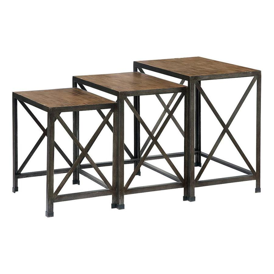 signature design ashley rustic accents piece dark brown accent gray table set narrow small entry home decor outdoor patio cover beachy end tables pulaski leather recliner nesting