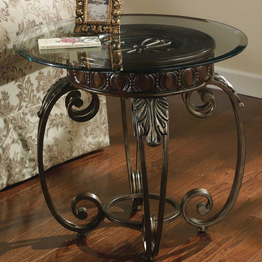 signature design ashley tullio metal round end table with products color accent glass top garden inch vinyl tablecloth tiffany look alike lamps tall white entrance decor gray side