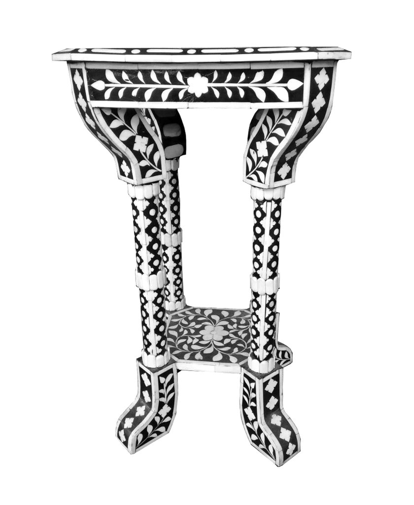 silver drum side table the fantastic nice inlaid wood end tables floral pattern bone inlay accent favors handicraft sauder office furniture black coffee with storage concrete top