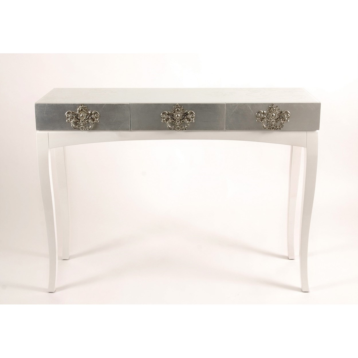 silver leaf accent table console elegant black glass box with floral etched accents encases three drawers brass hardware hand crafted wood legs long thin pottery barn teen floor