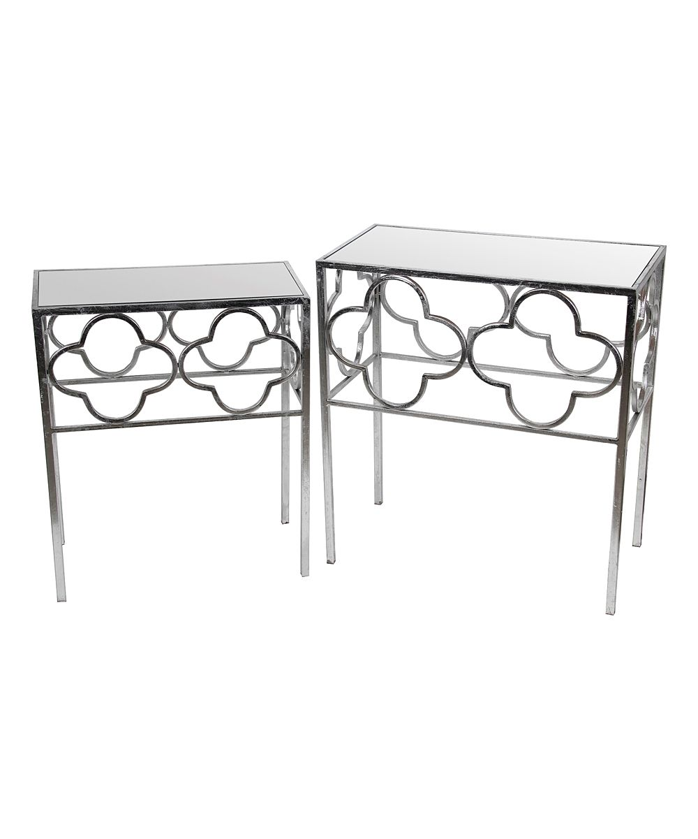 silver leaf mirrored accent tables mira table couches under plum tablecloth tall occasional small grey lamp mudroom storage units half moon glass ikea black cube hand painted