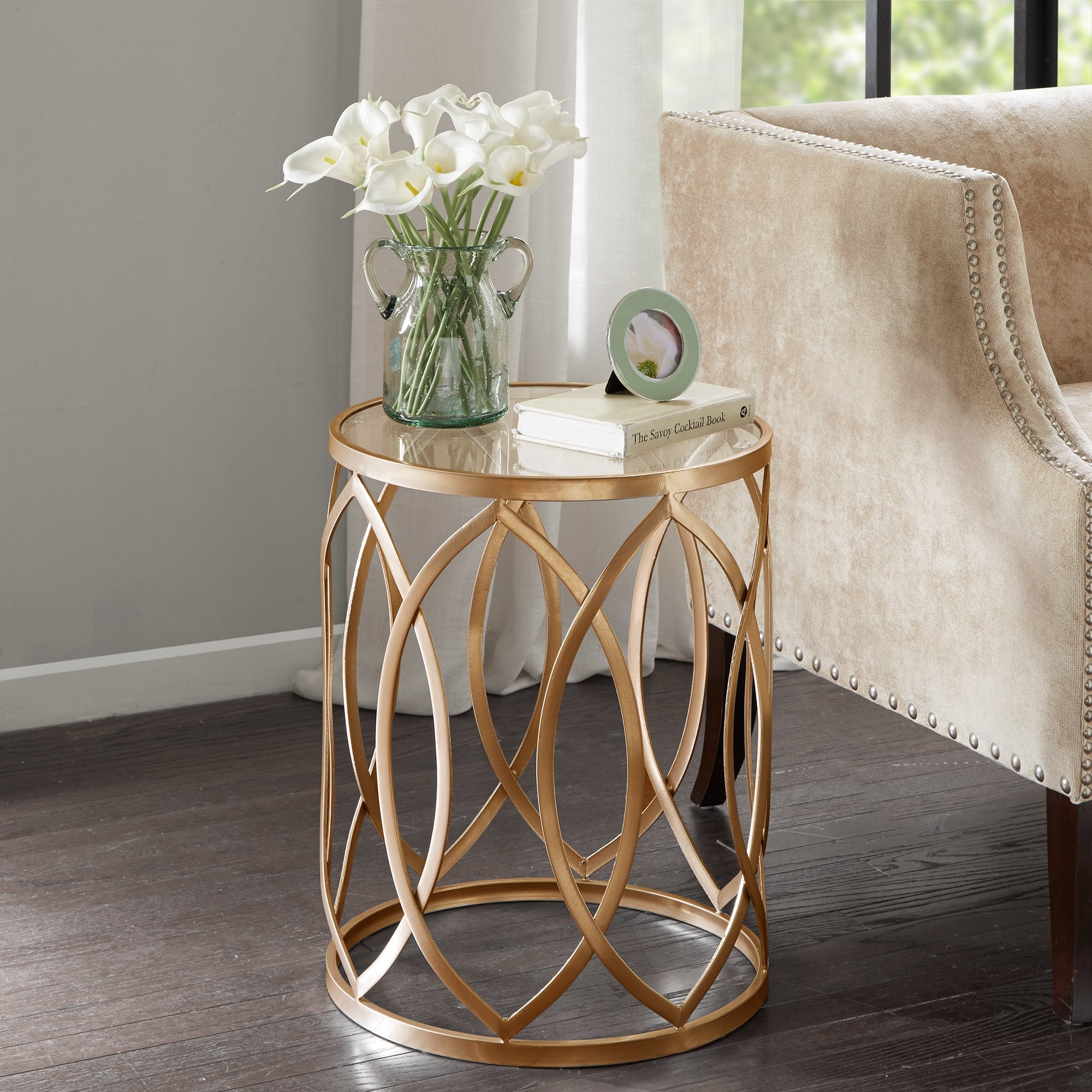 silver orchid grant gold glass metal eyelet accent table madison park coen kitchen dining sets target chaise nautical flush mount ceiling light corner chair and set west elm couch