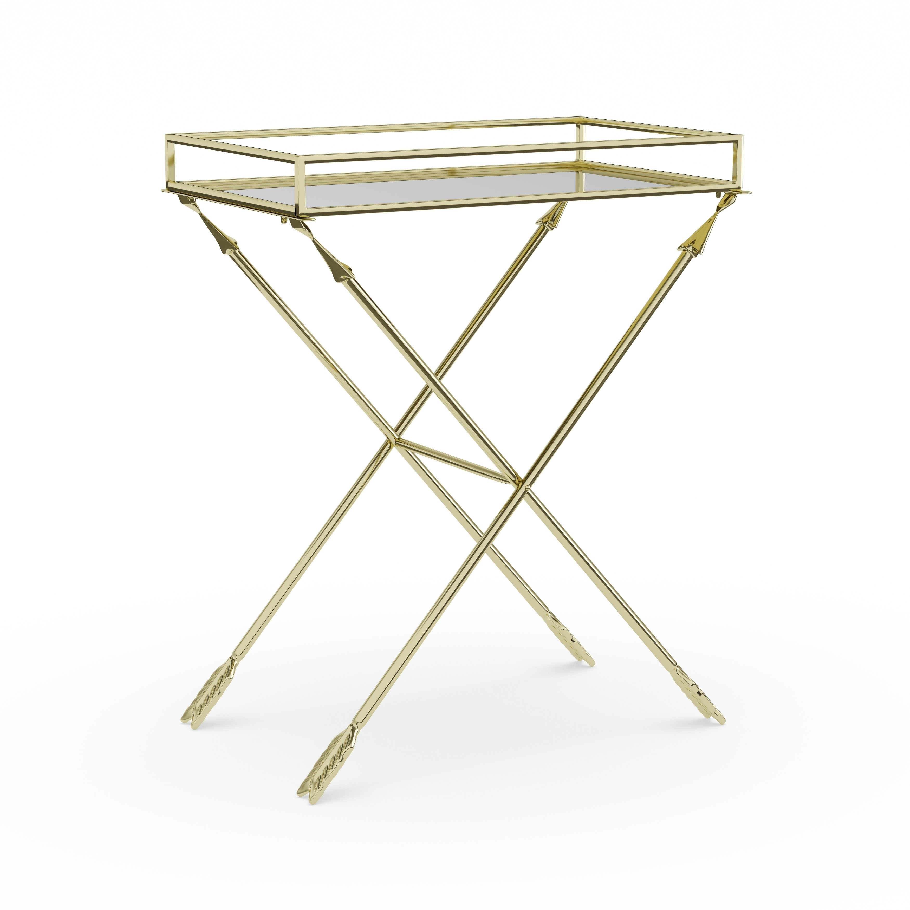 silver orchid jalabert arrow metal accent table with mirrored tray top free shipping today pier one chair covers smoked glass side tall sofa carpet termination strip wine rack