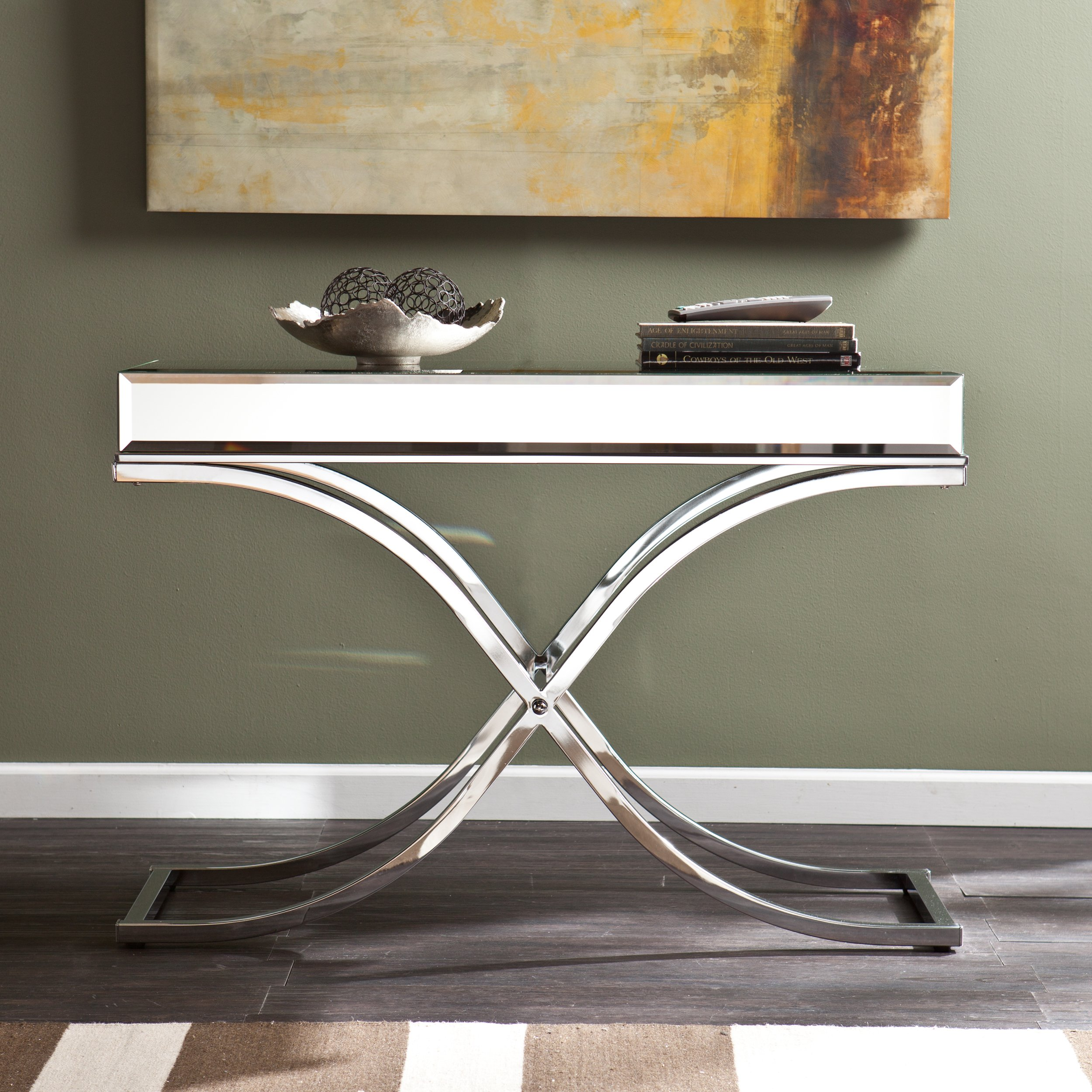 silver orchid olivia chrome mirrored sofa console table free metal glass accent with shelf round counter height pottery barn living room sets outdoor beverage cooler party