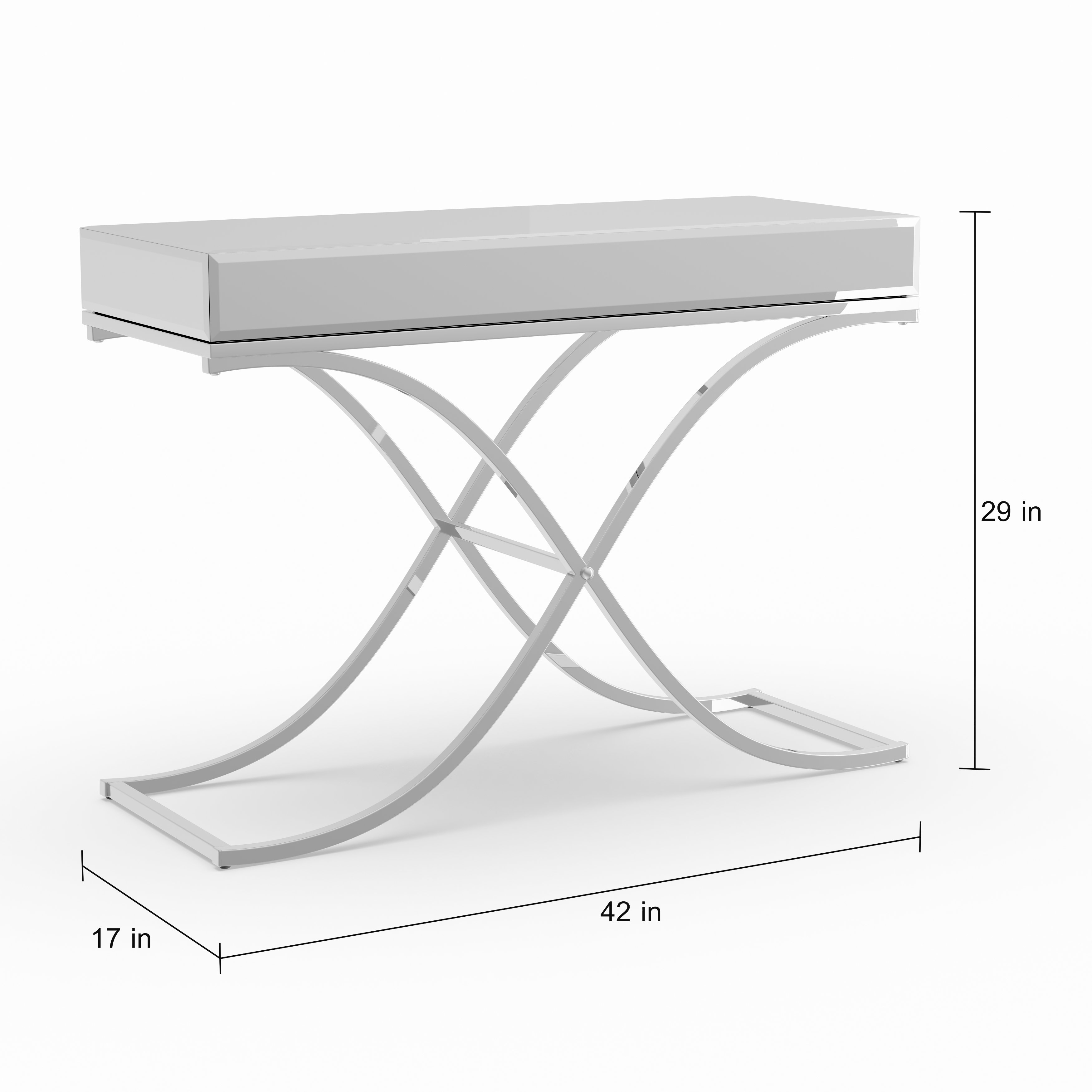 silver orchid olivia chrome mirrored sofa console table free metal glass accent with shelf shipping today cupboard decoration small living room decorating ideas battery operated