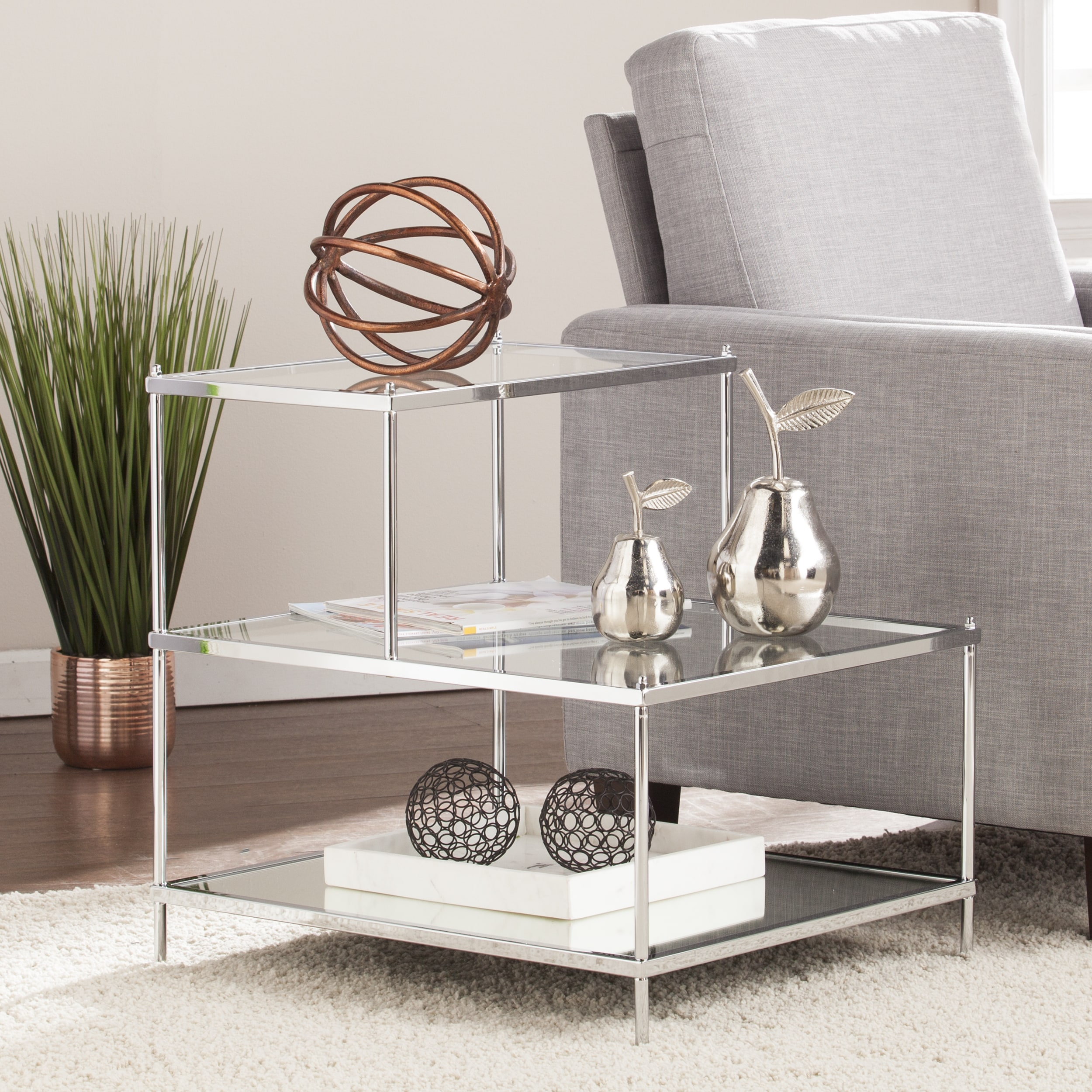 silver orchid olivia glam mirrored accent table chrome small lucite side round skirts decorator sauder furniture high and chairs recliner covers target backyard modern lamp