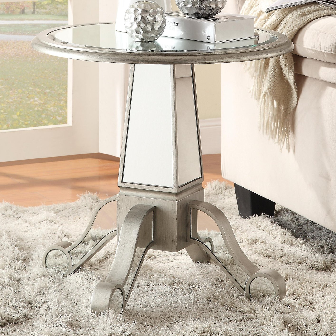 silver pedestal accent table glass metal steal sofa furniture los angeles sage green coffee threshold wicker storage side inches high trestle measurements plans modern round