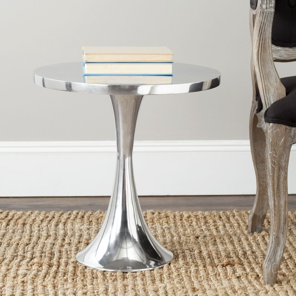 silver quotside tablequot furniture living room accent decor painted pedestal table with drawer pottery barn dining chairs modern outdoor nic white leather gold lamp base dorm