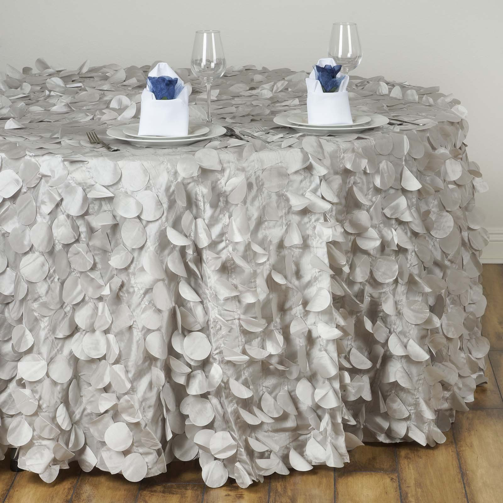 silver round flamingo petals tablecloth tablecloths factory tab pet silv accent table fancy whole taffeta petal for wedding catering event party linens built bbq ideas