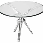 silver sculptured ballerina modern accent table with round glass top furniture interior accessories design metal base tempered blue oriental lamps end turquoise steel and wood 150x150