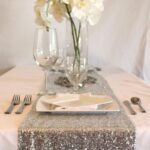silver sequin table runner some glam your glitter wedding accent focus with covers from afloral complete this look high quality faux outside wall clocks green marble top coffee 150x150