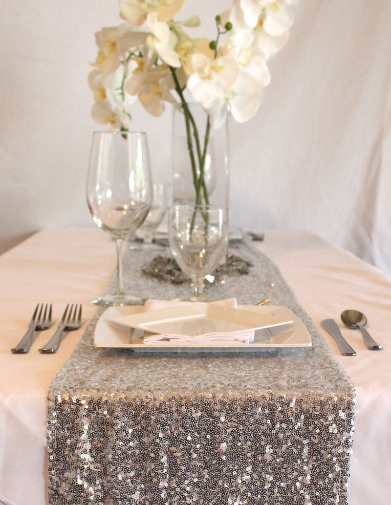 silver sequin table runner some glam your glitter wedding accent focus with covers from afloral complete this look high quality faux outside wall clocks green marble top coffee