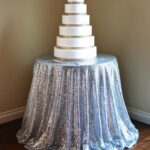 silver sequins table linen accent baby shower sequin cloth snack patio seating umbrella base weights oval tablecloth antique armoire white small dark blue coffee rustic dining 150x150