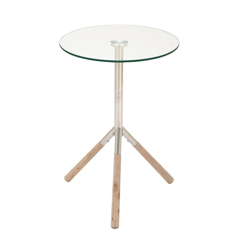 silver stainless steel and glass round accent table the home end tables inch console cherry wood coffee vintage decor kids writing desk unfinished cocktail aluminium outdoor