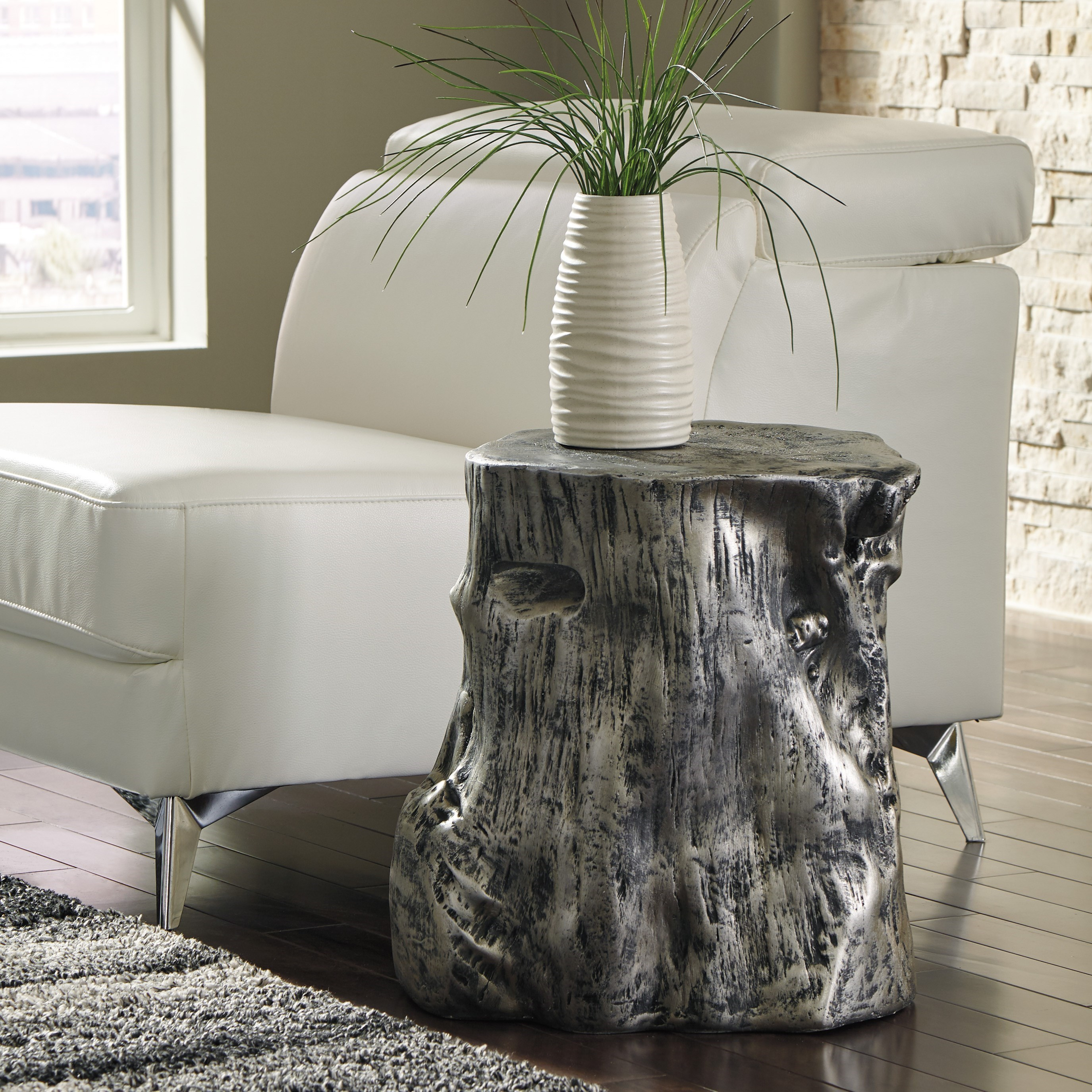 silver tree stump accent table signature design ashley wolf products color majaci wood ikea outdoor chairs battery operated touch lamps pier winsome modern decor ideas multi