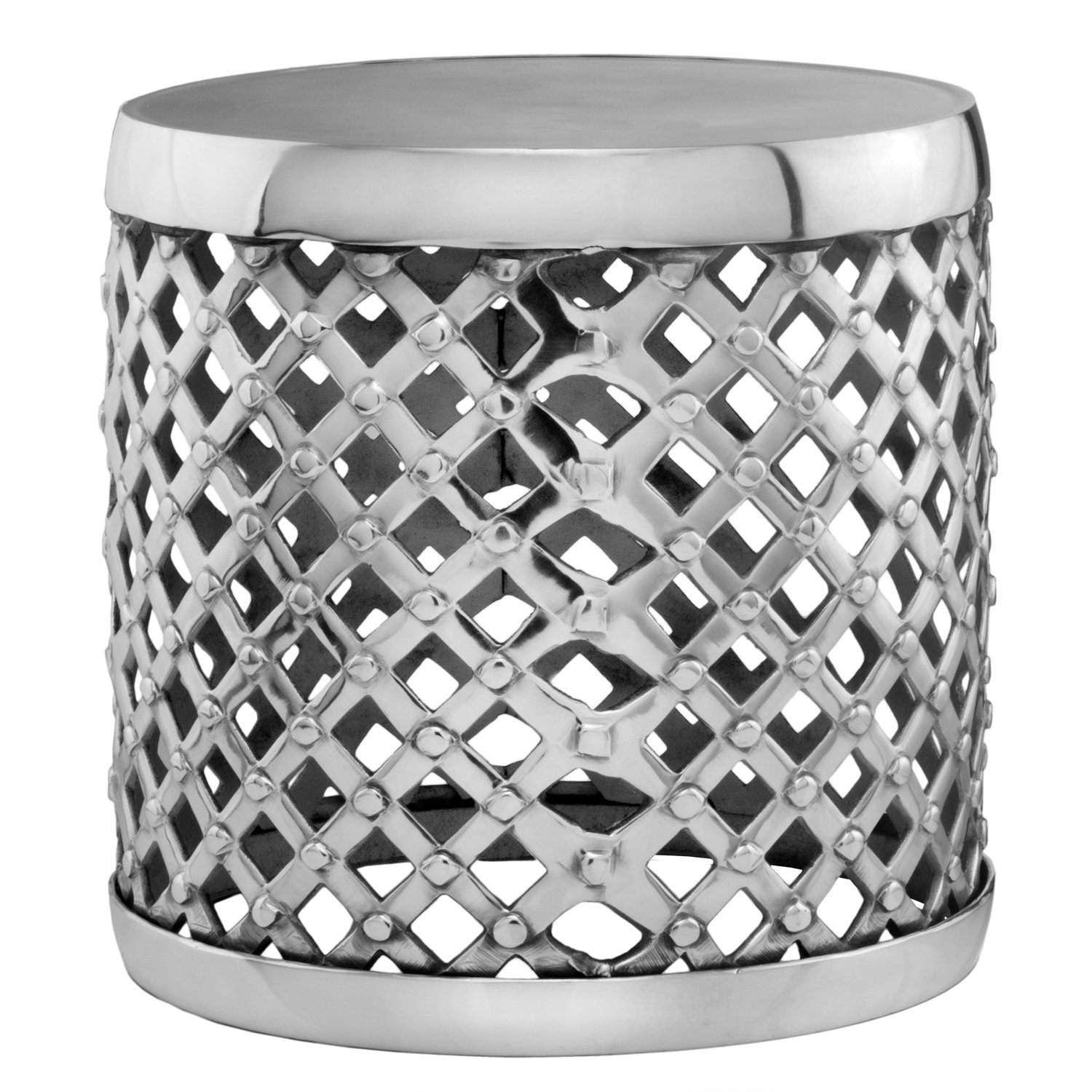 silvertone lattice aluminum drum accent table free shipping cylinder today colorful sofa buffet sideboard ikea garden storage box oak lamp wicker baskets pier one coupon chair