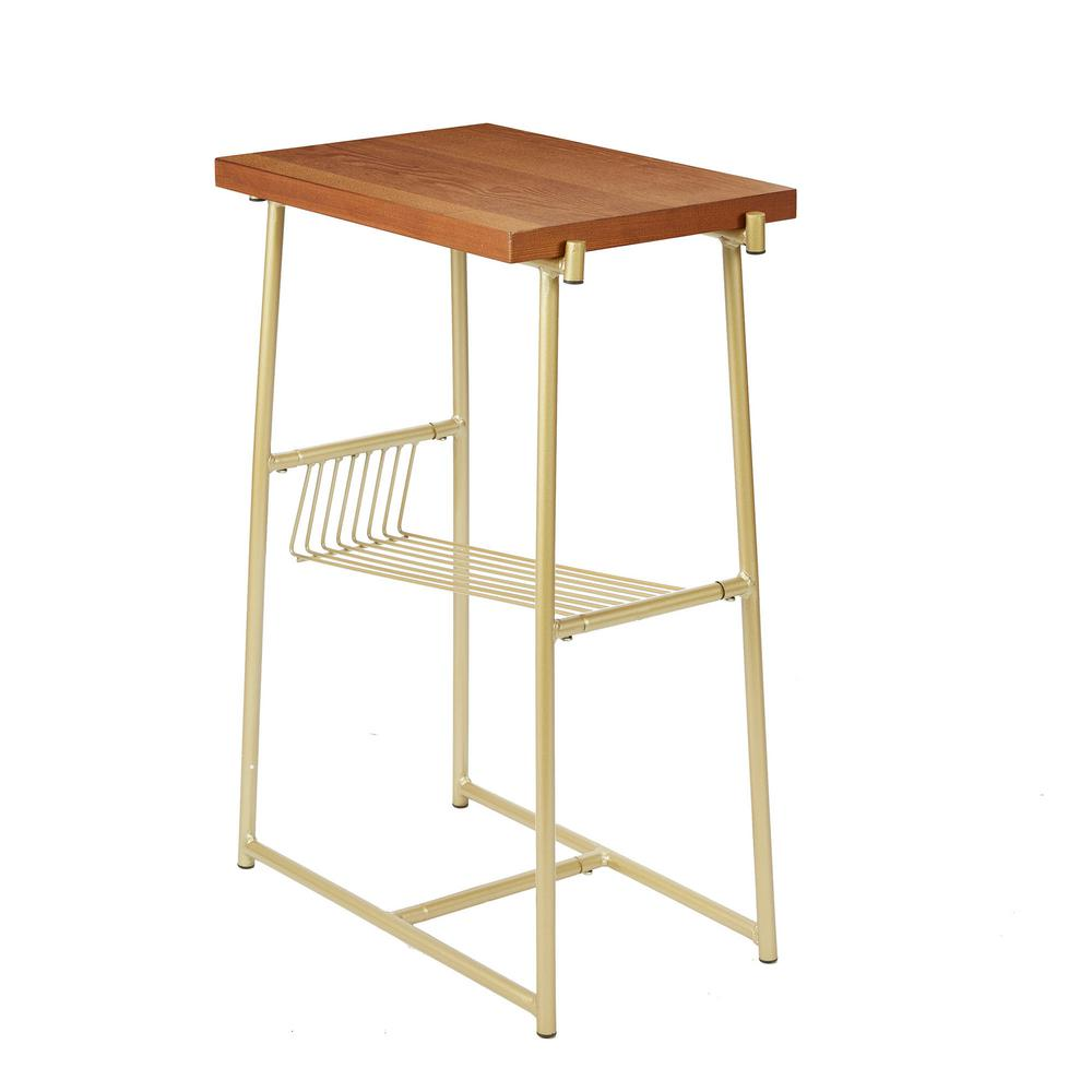 silverwood alden gold and walnut industrial accent table with wire coffee tables magazine rack vanity acrylic nightstand oil rubbed bronze spray paint marble top designer